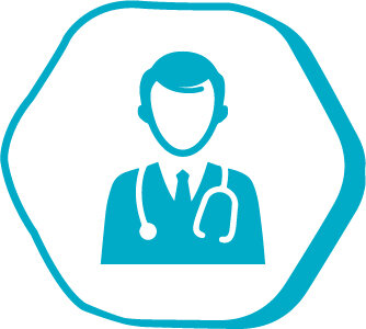 The symbol of a doctor performing a hair transplant